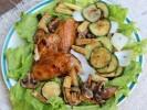 Cánh gà và rau củ nướng
