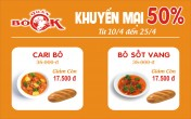 Quán Bò Ok giảm giá 50 % cà ri và bò sốt vang