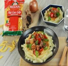 """""""Nâng tầm"""" món nui xào bò lúc lắc quen thuộc với nui cao cấp Meizan"""