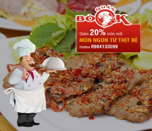 Giảm giá 20 % món ngon từ thịt bê tại Quán Bò Ok