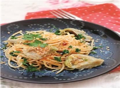 Spaghetti với tâm hoa a-ti-sô
