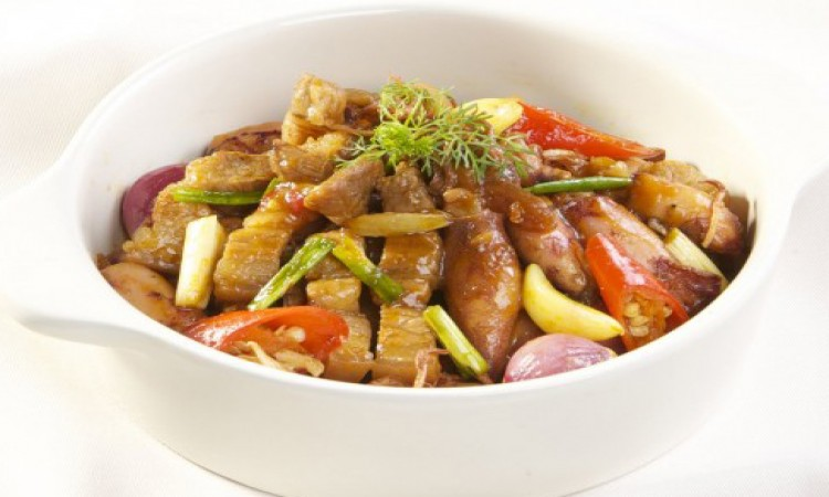 Mực muối rim thịt