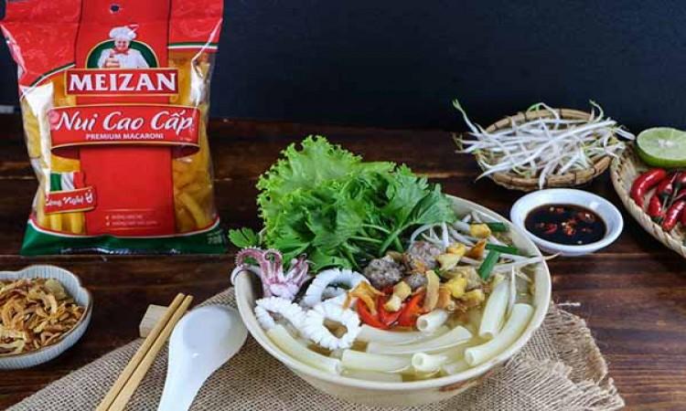 Chinh phục món mực và thịt viên thơm ngon hết ý với nui cao cấp Meizan