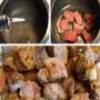 Cho 3 thìa nhỏ dầu ăn vào nồi, xào thịt bò sơ qua rồi gắp ra bát để riêng.