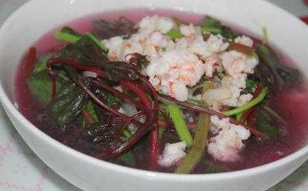 Trứng cút bọc thịt xốt cà, canh rau dền tía nấu tôm