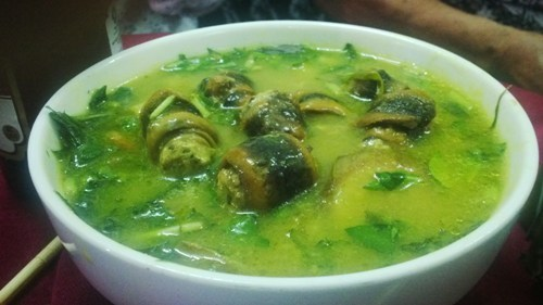 Lươn bung chuối xanh