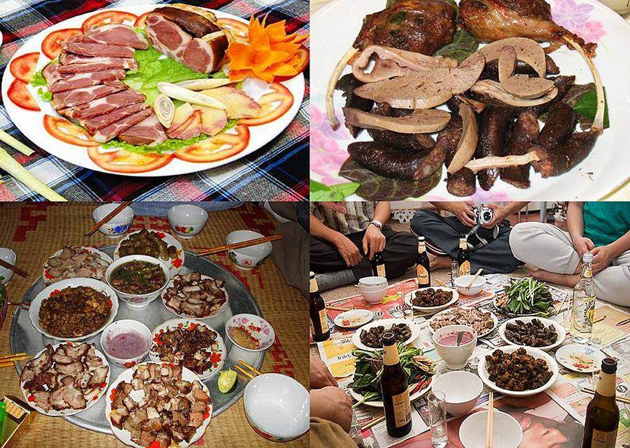 Các món từ thịt chó Vân Đình