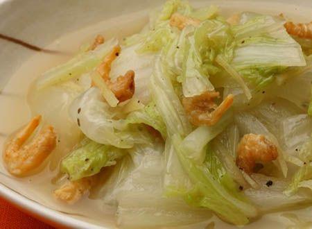 Canh cải thảo nấu tôm