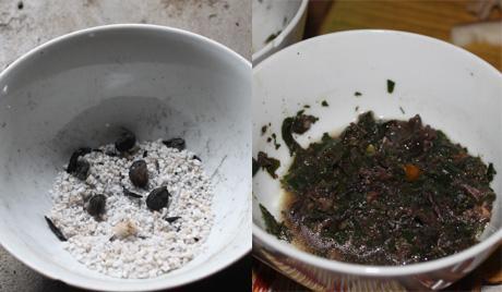 Người Mường tự pha chế gia vị để chấm đồ ăn. Phổ biến nhất là muối nướng hạt dổi. Đặt than đỏ vào bát đựng lẫn muối và hạt dổi tới khi muối khô trắng rồi đem giã. Mùi hạt dổi thơm lừng trộn lẫn với vị mặn của muối tạo nên một loại bột chấm đặc chưng của người dân tộc ở đây. Khi ăn cỗ lá, người Mường sẽ đổ muối hạt dổi lên lá để tiện chấm. Ngoài loại bột chấm trên, họ còn nấu các loại rau thơm như lá mơ, mùi tàu, lá lốt cùng tiết, ớt và gia vị thành một loạt nước vừa đặm vừa cay.