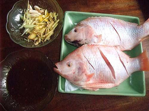 Cá điêu hồng nướng gừng sả, Ẩm thực, am thuc, món ngon, cá điêu hồng, rau xà lách, củ sả, tương ớt