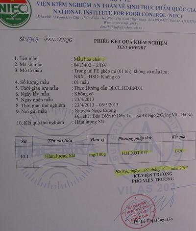 Kết quả xét nghiệm hàm lượng sắt trong gói hóa chất mua ở Cự Đà