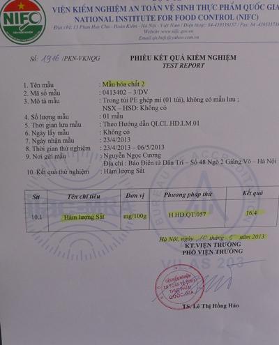 Kết quả xét nghiệm hàm lượng sắt trong gói hóa chất mua ở chợ Đồng Xuân