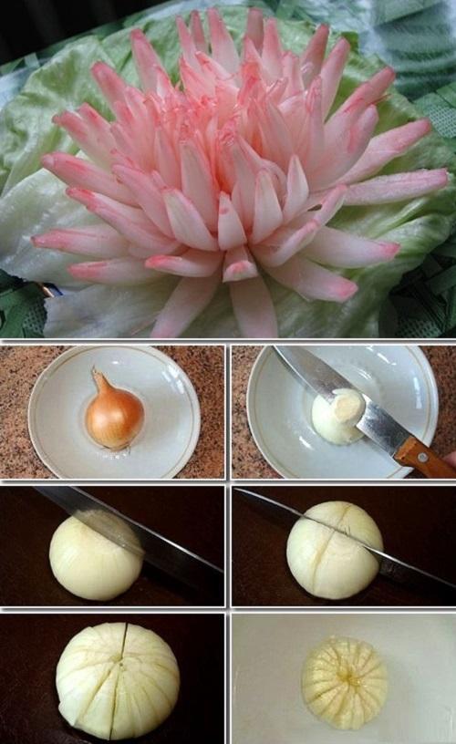 4 cách tỉa hành tây thành hoa thật dễ dàng 1